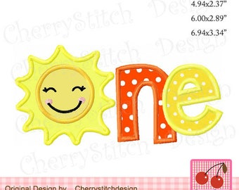 ONE Sunshine  ONE Sun Machine Embroidery Applique Design -for 5x7 6x10 hoop