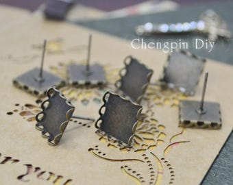 Square LACE Earring - Lace Earring Blank-Ear Stud Blank-Bezel Square Earring Setting - Bezel Earring Studs Square Glass Cabochon in optional