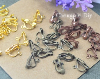 50pcs 4 color Tone Earring Clip/Ear Wrap Findings for jewelry making-13x8mm