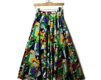 Vintage  Colorful french can can dancers/moulin rouge/ High waist wide leg flare Pants from 1970's*