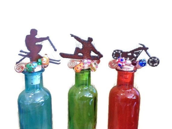 SKIER SNOWBOARDER or Chopper MOTORCYCLE Rustic Rusty Rusted Metal Decorative Wine Bottle Cork Stopper Topper