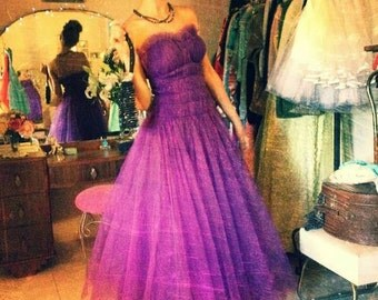 Vintage 1950's Emma Domb Vivid Purple Tulle  Party / Prom Dress, Small