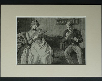 1890s Antique Victorian Print, Available Framed, Romantic Art, Gentleman Picture, Young Love Decor, Courting Couple, Nice Cuppa, Cup of Tea