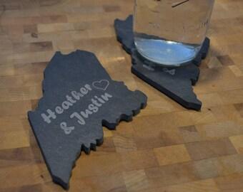 Maine Shaped Wedding Coasters - Personalized Wedding Gift - Slate Coasters Set of 2