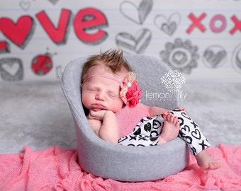Pink Peach Flower headband ,Valentines Day headband , Pink flower headband
