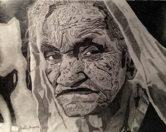 Old Woman Original Art, Drawing By Jordan Kimpton