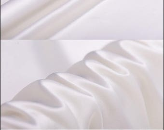"""Designer Solid Silk Charmeuse Fabric - Off-White Lining Cloth by The Yard or Meter 114 cm (44"""") wide"""
