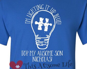 Autism Awareness Light It Up Blue for Son or Daughter Adult Shirts/Watch Me Shine Series/Short Sleeve Shirt