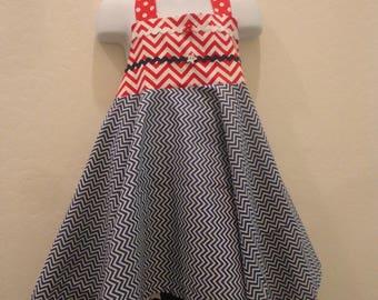 4th of July Halter Dress, Girl's Halter Dress, Summer Dress, Size 5 Halter Dress, Red White Blue Dress, Dress and Leggings, Party Dress
