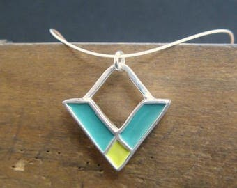 Crossroads Necklace - New Century Modern - Green and Blue Reversible Enamel Necklace