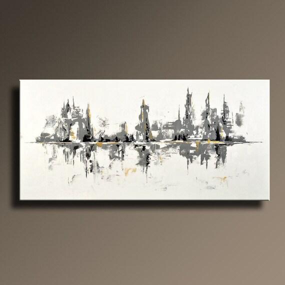 75 grand noir blanc gris or peinture abstraite sur toile art. Black Bedroom Furniture Sets. Home Design Ideas