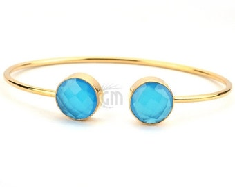 45% HOLIDAY SALE Blue Chalcedony Bangle Bracelet, 12mm Round Shape 24k Gold Plated Gemstone One ...