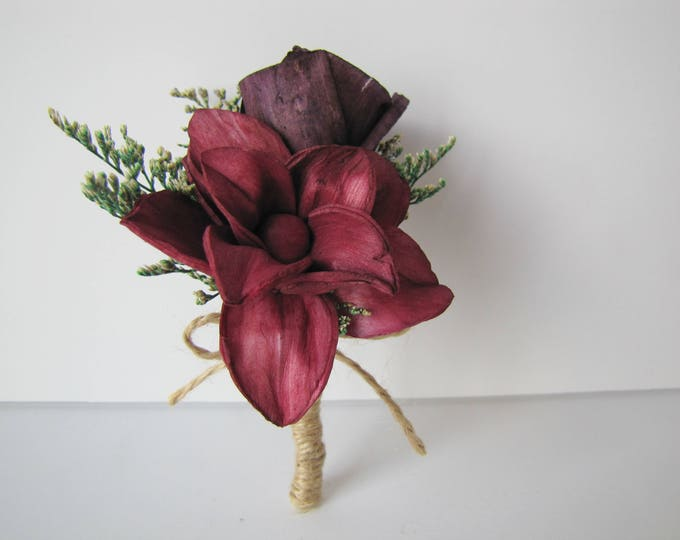 Magnolia Pin on Corsage - burgundy and eggplant acorsage - keepsake corsage - pin on corsage - wine colored corsage