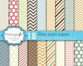 80% OFF SALE bright colors digital paper, commercial use, scrapbook papers, background, polka dots, chevron, gingham, stripes - PS618