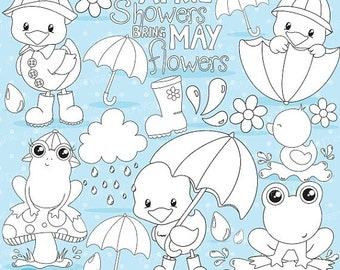 80% OFF SALE April showers clipart commercial use, duck and frog graphics, digital clip art, digital images - DS824