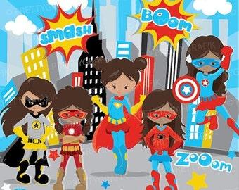 80% OFF SALE Superhero girls clipart commercial use, superhero kids vector graphics, digital clip art, digital images - CL888