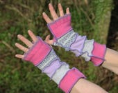 Upcycled Ladies Armwarmers, Wristwarmers, Fingerless Gloves. Handmade in UK from Recycled Wool Knitwear. Pink Blue Grey Ethical fashion OOAK