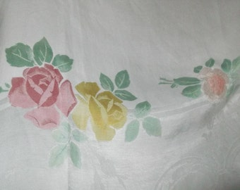 Vintage Damask  Tablecloth embroidered applique Flowers  , RetroDamask Tablecloth, Large Vintage Tablecloth, Large Retro Tablecloth