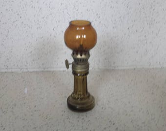 Mini Miniature Oil Lamp Amber Column