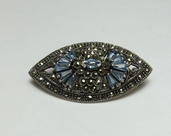 Vintage Sterling Silver Blue Stone and Marcasite Brooch