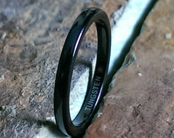 Tungsten Carbide 2mm Black Polished Mens & Womens Personalized Wedding Band Ring Engagement Promise Ring Mans Womans Jewelry AZ114