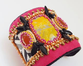 "Ethnic embroidered cuff, jasper eclipse, carnelian "" FUNNY ZEBRA """