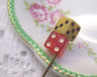 """Summer Sale...Vintage Art Deco  """"DICE"""" Ascot Lapel Stick Pin...Tiered DIce Lapel Pin...Celluloid Lucky Dice Hat Pin...Gambling Jewelry"""