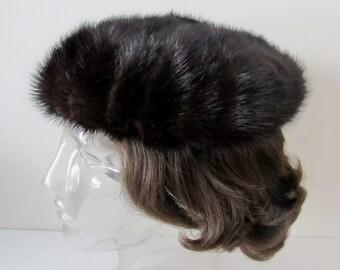 Mink Beret, Hat, Fur Tam, Dark Mink, One Size Fits All
