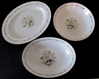 Three Serving Pieces, Diamond China Romance, Made in Japan, Round Bowl, Oval Bowl, Platter