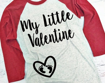 My Little Valentine® Baseball Style Shirt. XS-3XL. Pregnancy Valentine's Shirt. Baby Bump Valentine's Shirt. Maternity Valentine Shirt.