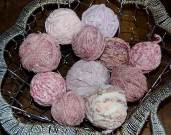 """Vintage Country Pink Fabric  Rag Balls for your Home Decor or Crafting Project 11 rag balls Reclaimed from a Vintage Rag Rug 1"""" to 1 1/4"""""""