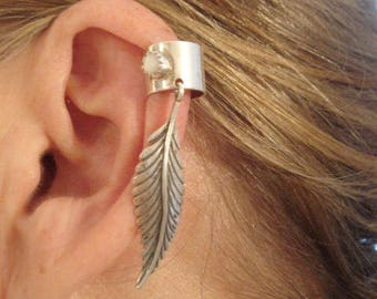 "Exceptional Vintage Sterling Large Feather Ear Cuff By Navajo Silversmith ""S. J."" With Small Moonstone"