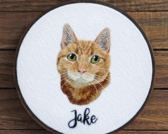Custom Realistic Cat Embroidery - gift for cat lovers, personalized cat fiber art, needlepoint, pet memorial, cat wall decor, birthday gift