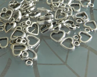 15x  Antique Silver Heart Charm 13x9mm