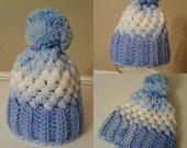 Blue Newborn Hat, Crochet hat, winter baby hat, baby boy hat