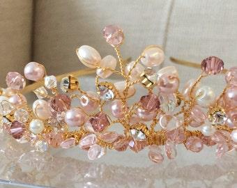 Blush pink pearl crystal and diamanté tiara headband headdress