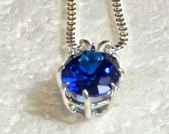 Blue Zircon Penant/Necklace, 11x9mm Oval, Natural, Set in Sterling Silver P639