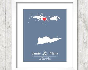 8x10 US Virgin Islands Wedding Map - St. Thomas, USVI - Love Map - Destination/Beach Wedding - Newlyweds -  Engagement & Anniversary Gift