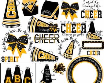 cheerleading locker decorations. Cheer clipart MANY SCHOOL COLORS Spirit Black Golden invite camp cheer  Cheerleading clip art cheerleader locker Cheers and chants Etsy
