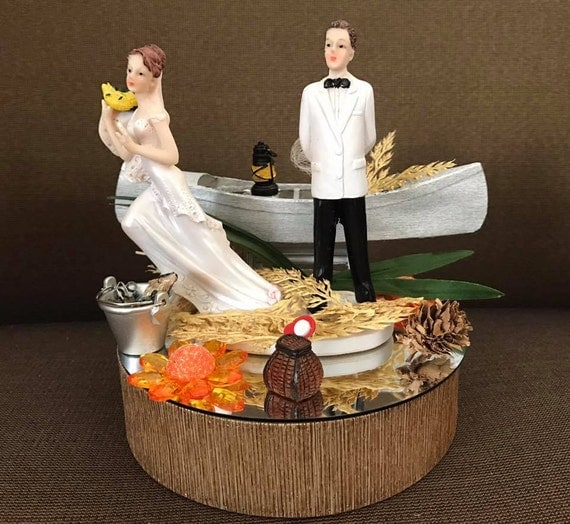 boat wedding cake topper fishing wedding cake topper centerpiece with boat decoration 12065