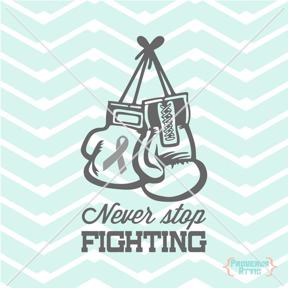 Cancer Ribbon Boxing Gloves Never Stop Fighting Car Decal