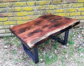 Rustic Coffee Table  Industrial Coffee Table  Live Edge Coffee Table   Distressed Wood