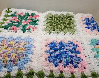Small Baby Afghan, crochet lap blanket, 1980s
