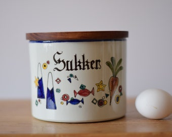 Big! Knabstrup Denmark - Sugar / Sukker - lidded jar for wall - PERNILLE - teak lid - handpainted - Danish mid century design