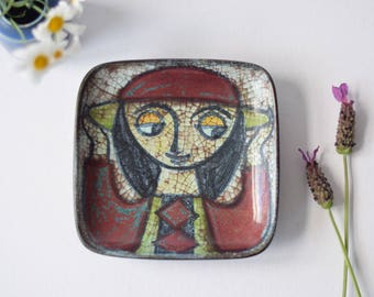 Marianne Starck for Michael Andersen & Son - small square dish / wall tile - Girl with Hat - Persia glaze - Danish mid century