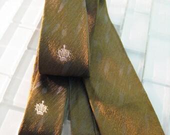 Olive Green Mod Silk Skinny Tie Mad Men Royal Imperial Crown Silk Warp