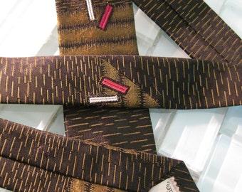 Gold Black Mod Skinny Tie Mad Med Art Deco Design 1960s Mad Men
