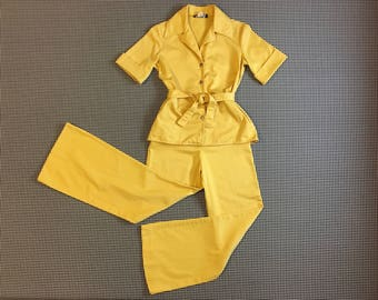 1970's, yellow canvas, tie waist top, and wide leg pants, outfit, Women's size Small