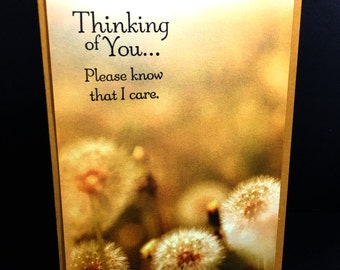 Thinking Of You Card - Handstamped Realistic Photo Paper - Sympathy - Just Because -Dandelion Photo Paper