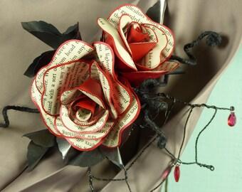 Dracula rose hairclip or corsage